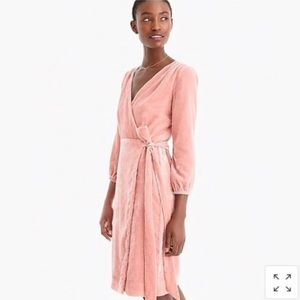 J. Crew Wrap Dress In Drapey Velvet Blush Size 8